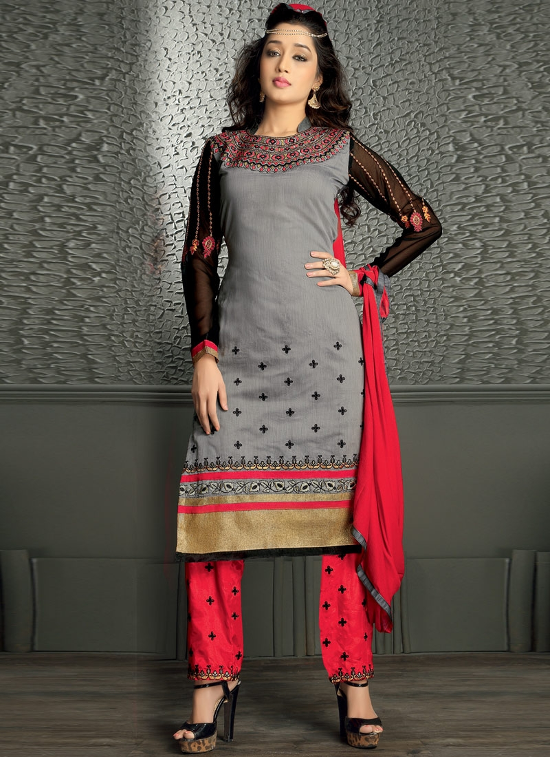 Classy Lace Work Grey Color Pant Style Party Wear Suit