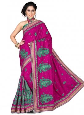 Classy Lace Work Magenta Color Designer Saree