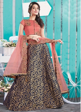 Classy Navy Blue and Salmon Embroidered Work Designer Classic Lehenga Choli For Ceremonial
