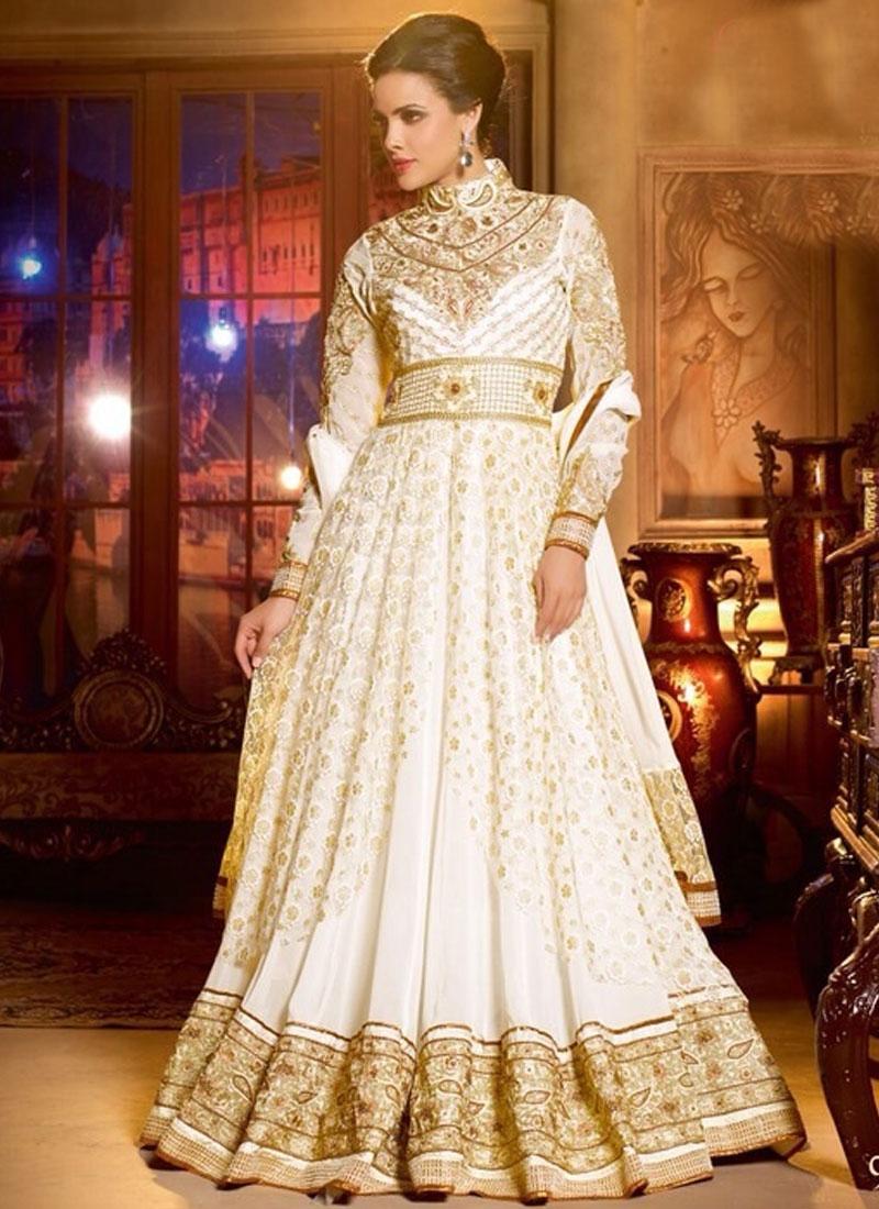 Classy Off White Color Floor Length Anarkali Salwar Kameez