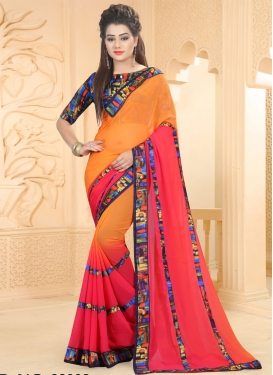 Classy  Orange and Red Abstract Print Work Traditional Saree
