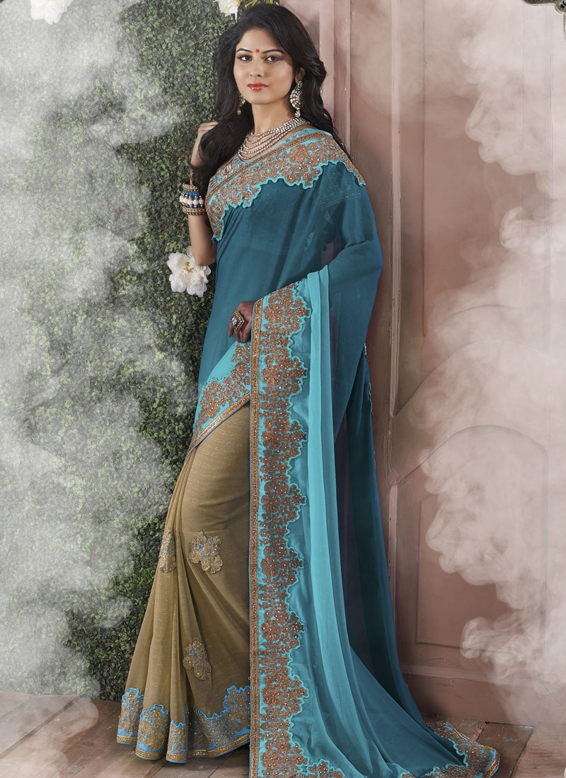 Classy Patch Border Work Fancy Fabric Half N Half Designer Saree