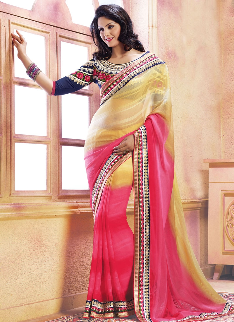 Classy Resham And Lace Work Party Wear Saree