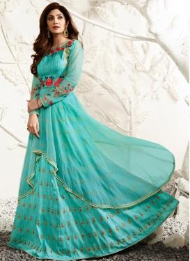 Classy Shilpa Shetty Net Designer Kameez Style Lehenga