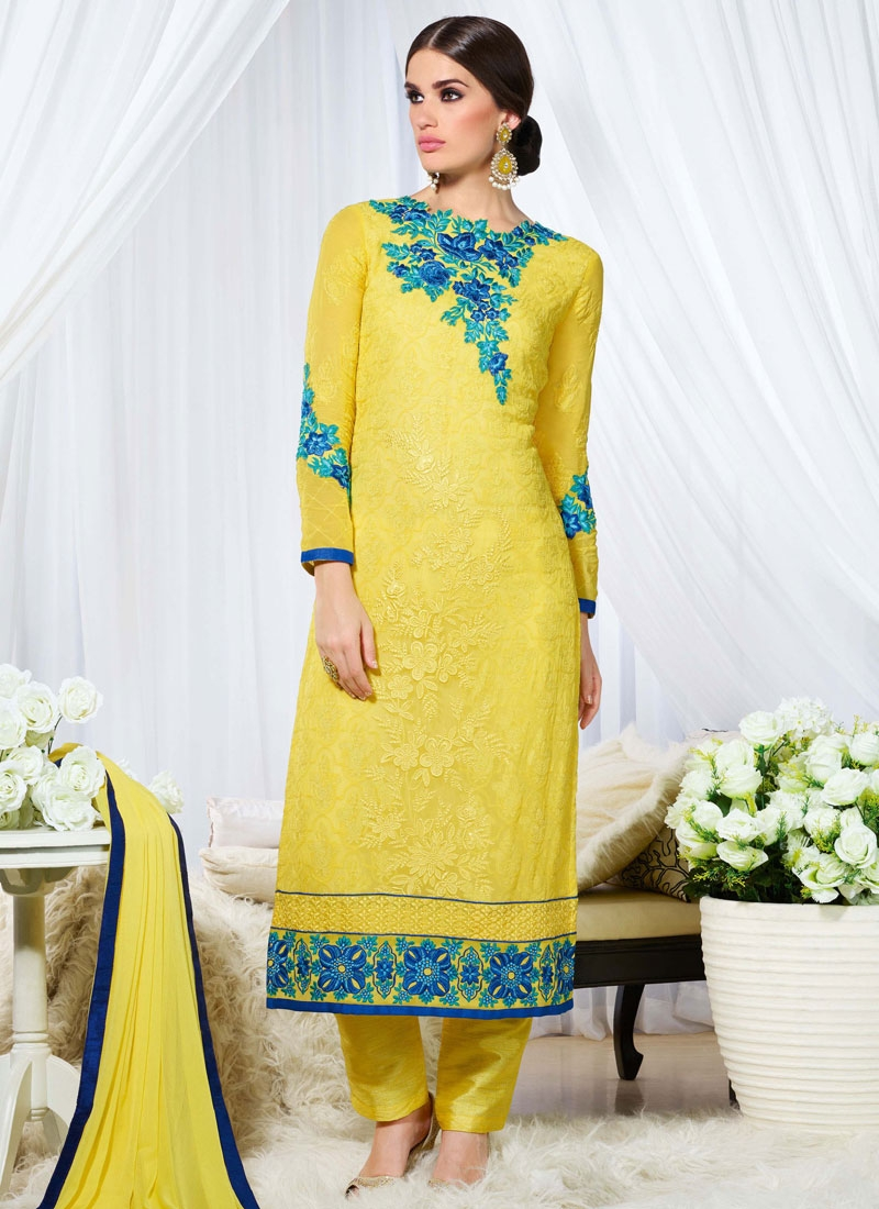 Classy Yellow Color Resham Work Pant Style Pakistani Salwar Suit