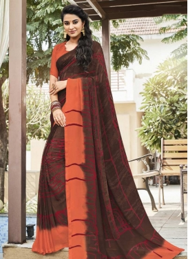 Coffee Brown and Coral Print Work Traditional Saree