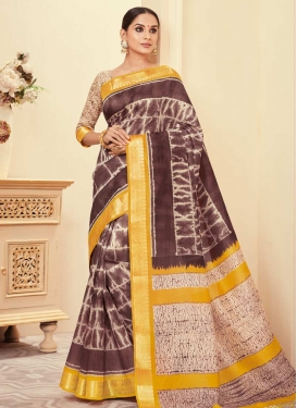 Coffee Brown and Cream Bhagalpuri Silk Contemporary Style Saree