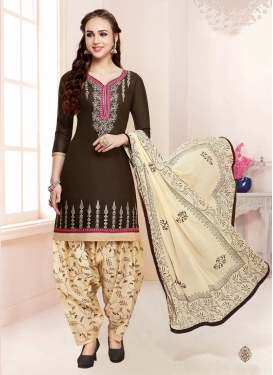 Coffee Brown and Cream Cotton Designer Patiala Salwar Suit