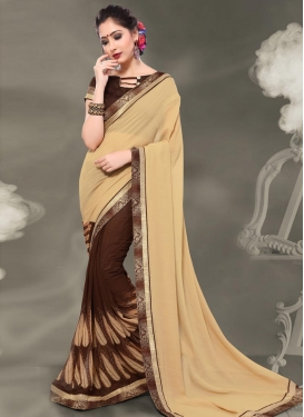 Coffee Brown and Cream Designer Half N Half Saree For Casual