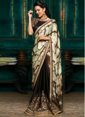 Coffee Brown and Cream Half N Half Trendy Saree For Ceremonial
