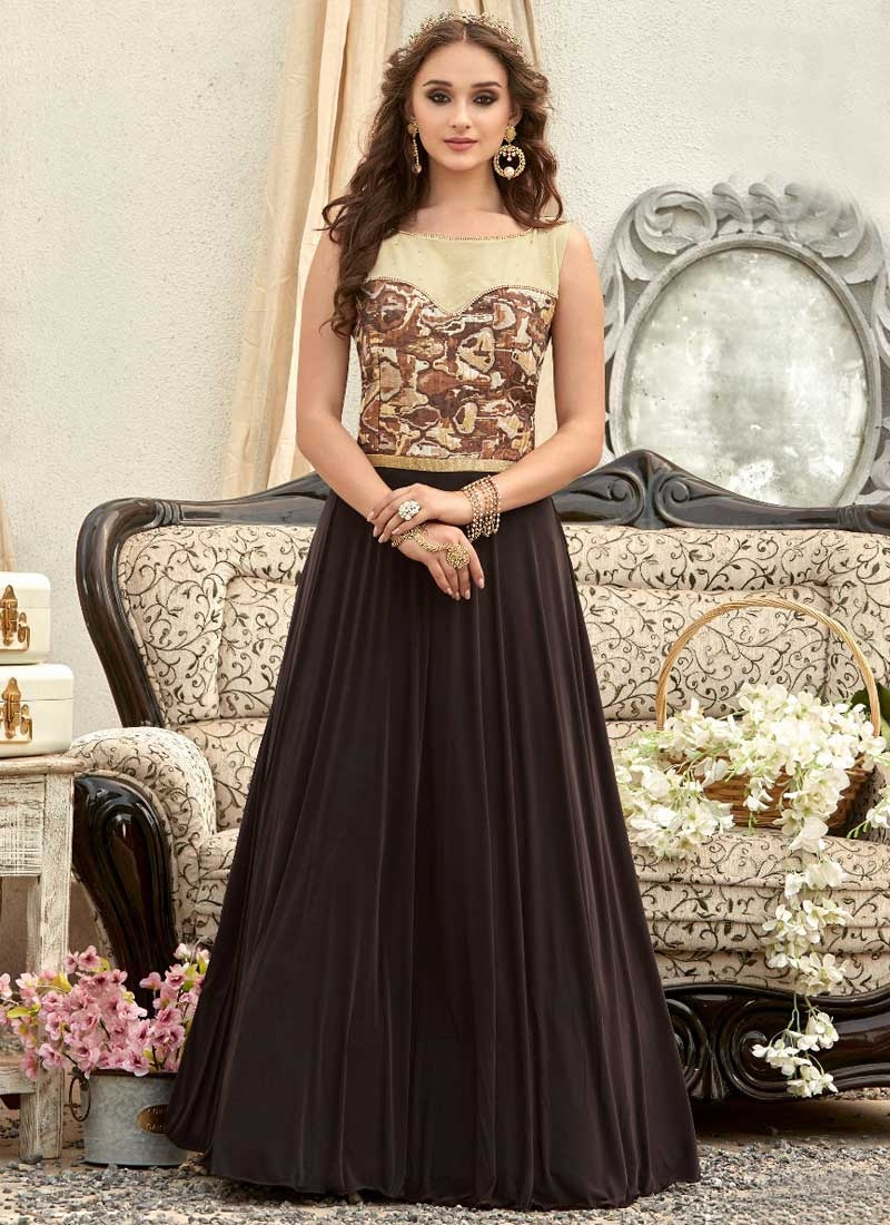 Coffee Brown and Cream Jacquard Silk Readymade Classic Gown For Festival