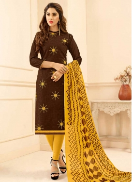 Coffee Brown and Gold Cotton Trendy Straight Salwar Kameez