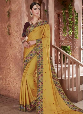 Coffee Brown and Gold Embroidered Work Contemporary Saree