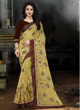 Coffee Brown and Gold Trendy Classic Saree For Festival
