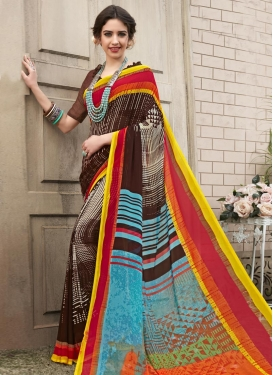 Coffee Brown and Light Blue Trendy Classic Saree