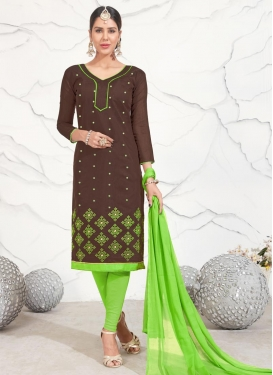 Coffee Brown and Mint Green Embroidered Work Trendy Salwar Suit