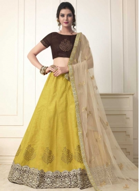 Coffee Brown and Mustard Art Silk A Line Lehenga Choli