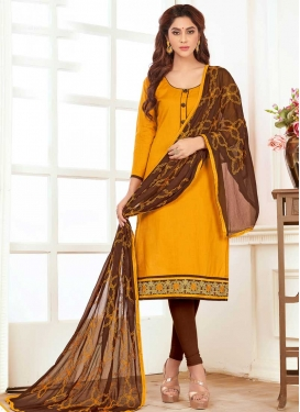 Coffee Brown and Mustard Trendy Churidar Salwar Suit For Casual