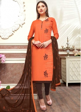 Coffee Brown and Orange Cotton Churidar Suit