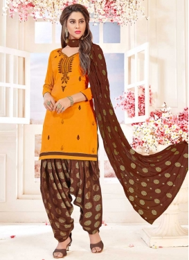 Coffee Brown and Orange Cotton Semi Patiala Salwar Suit