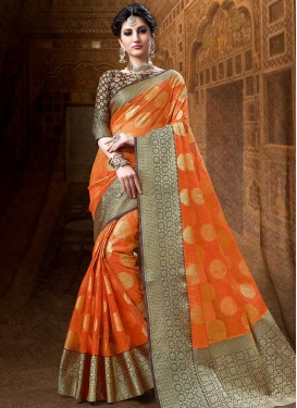 Coffee Brown and Orange Cotton Silk Designer Contemporary Saree