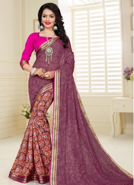 Coffee Brown and Orange Lace Work Designer Half N Half Saree
