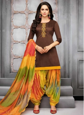 Coffee Brown and Orange Semi Patiala Salwar Kameez For Festival