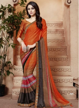 Coffee Brown and Orange Traditional Designer Saree