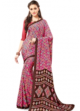 Coffee Brown and Pink Trendy Classic Saree For Casual