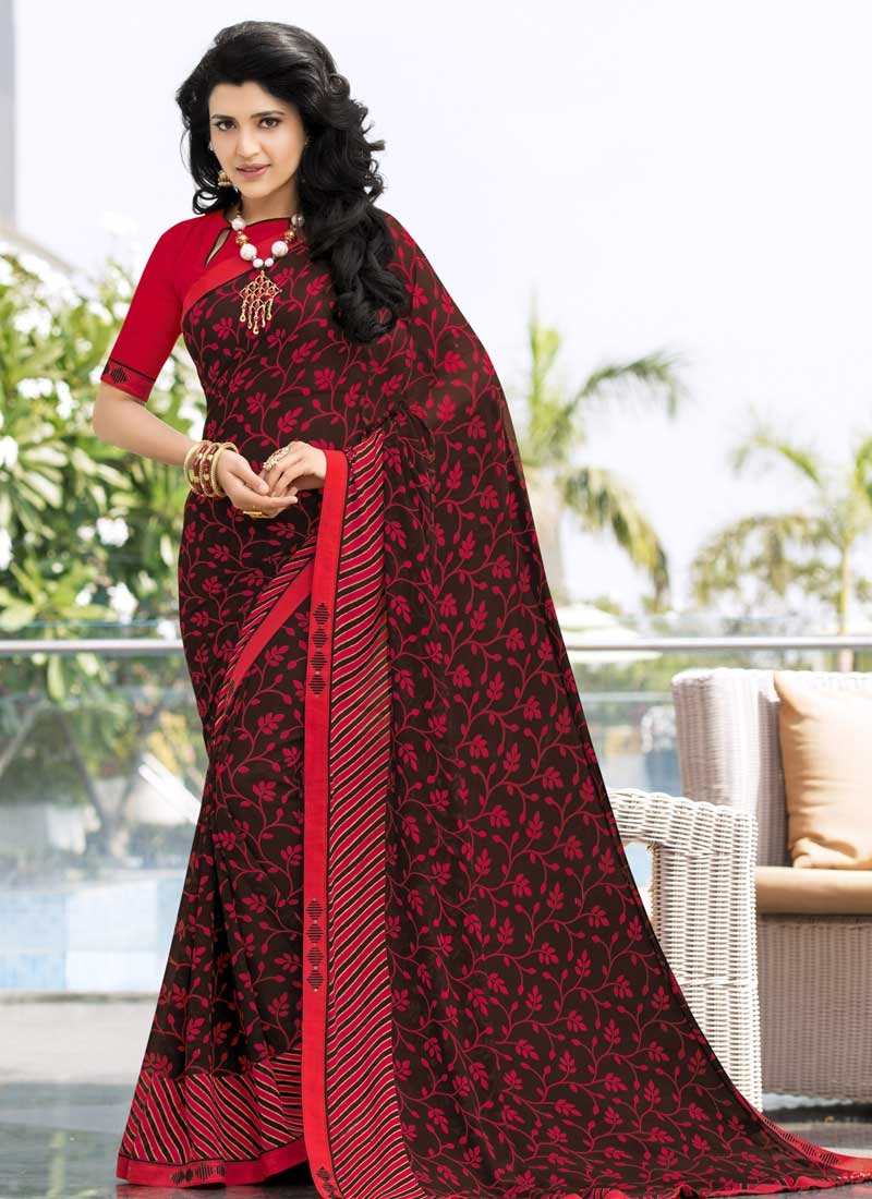 Coffee Brown and Red Lace Work Designer Contemporary Style Saree