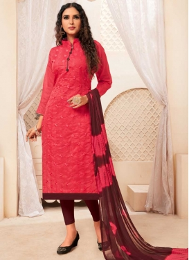 Coffee Brown and Rose Pink Embroidered Work Churidar Salwar Kameez