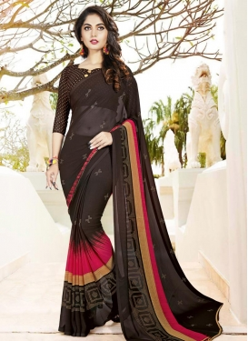 Coffee Brown and Rose Pink Print Work Classic Saree