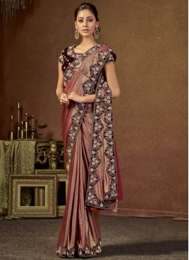 Coffee Brown and Rust Lycra Trendy Classic Saree