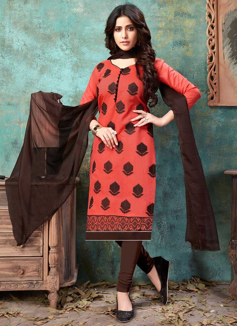 Coffee Brown and Salmon Chanderi Cotton Trendy Churidar Salwar Suit