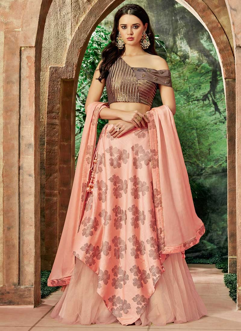 Coffee Brown and Salmon Designer Classic Lehenga Choli