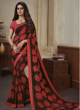 Coffee Brown and Salmon Faux Georgette Traditional Designer Saree For Casual
