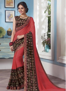 Coffee Brown and Salmon Faux Georgette Traditional Saree