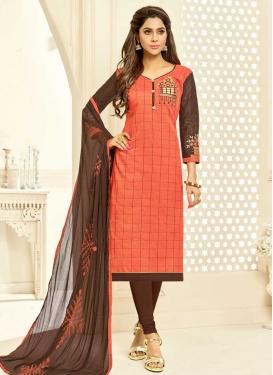 Coffee Brown and Salmon Trendy Churidar Salwar Suit
