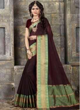 Coffee Brown and Sea Green Classic Saree