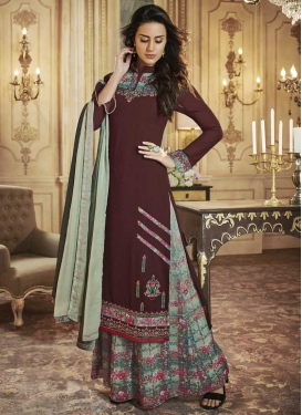 Coffee Brown and Sea Green Digital Print Work Designer Palazzo Salwar Kameez