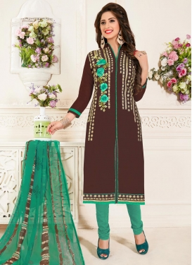 Coffee Brown and Sea Green Trendy Churidar Salwar Kameez For Casual