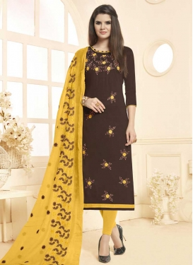 Coffee Brown and Yellow Cotton Churidar Suit