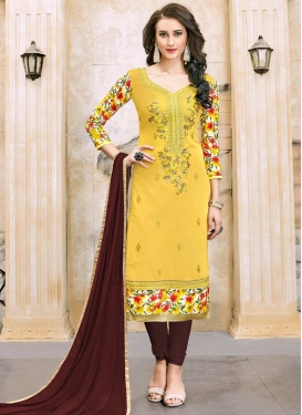 Coffee Brown and Yellow Digital Print Work Trendy Churidar Suit