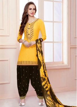 Coffee Brown and Yellow Embroidered Work Trendy Patiala Salwar Suit