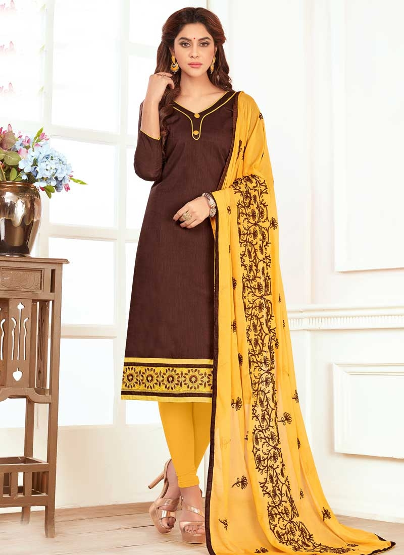 Brown And Yellow Living Room Decor: Buy Coffee Brown And Yellow Trendy Churidar Suit For