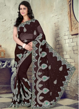 Coffee Brown Faux Chiffon Designer Contemporary Saree For Ceremonial