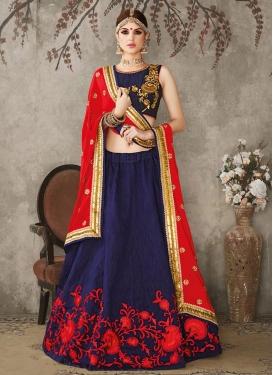 Compelling Aari Work Silk A - Line Lehenga
