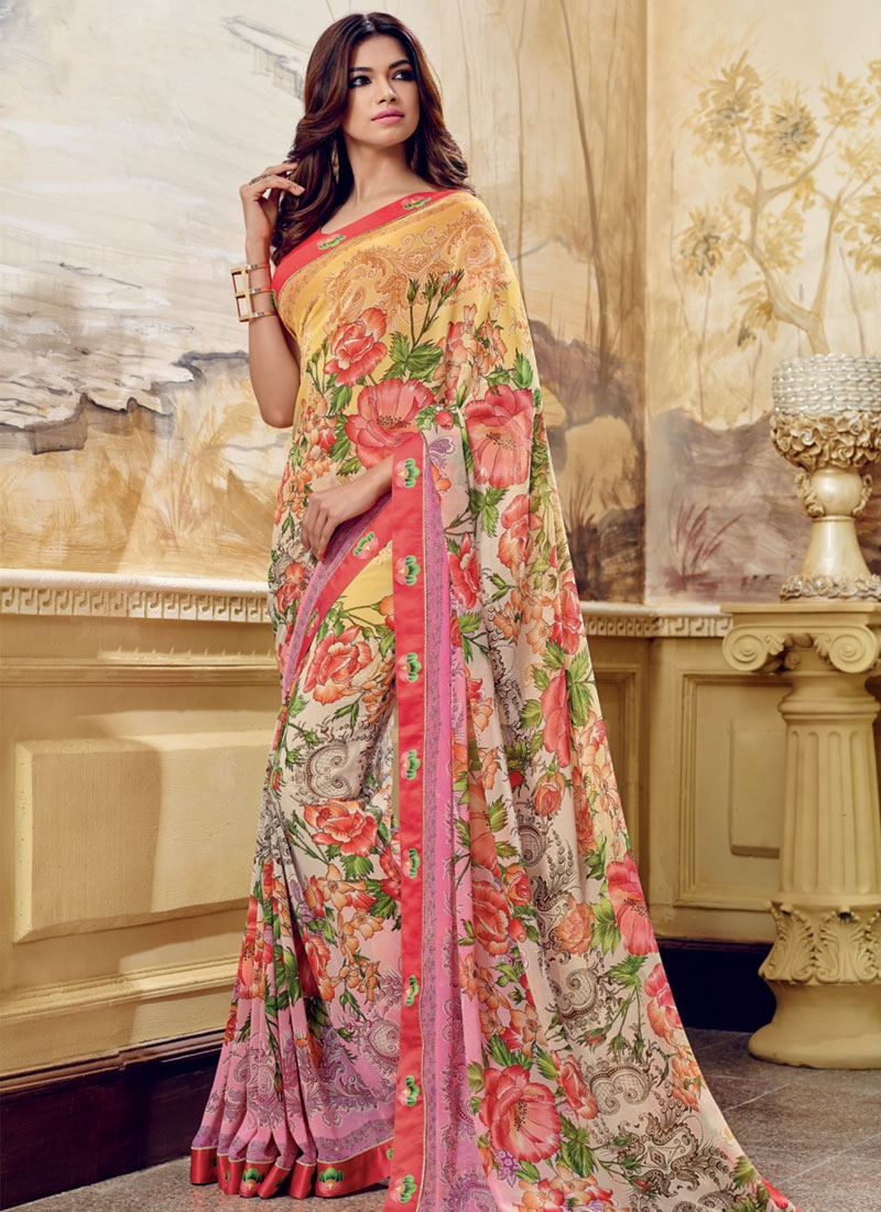 Compelling Abstract Print Work Casual Saree