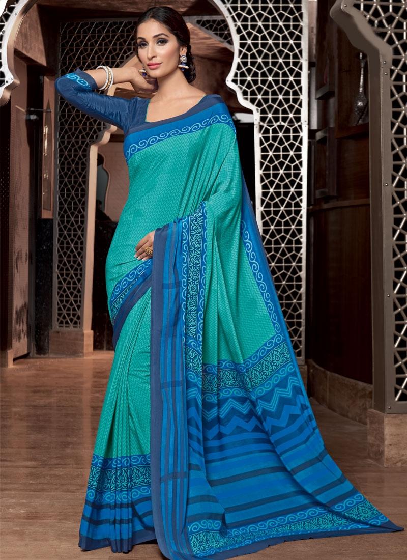 Compelling Aqua Blue Color Casual Saree