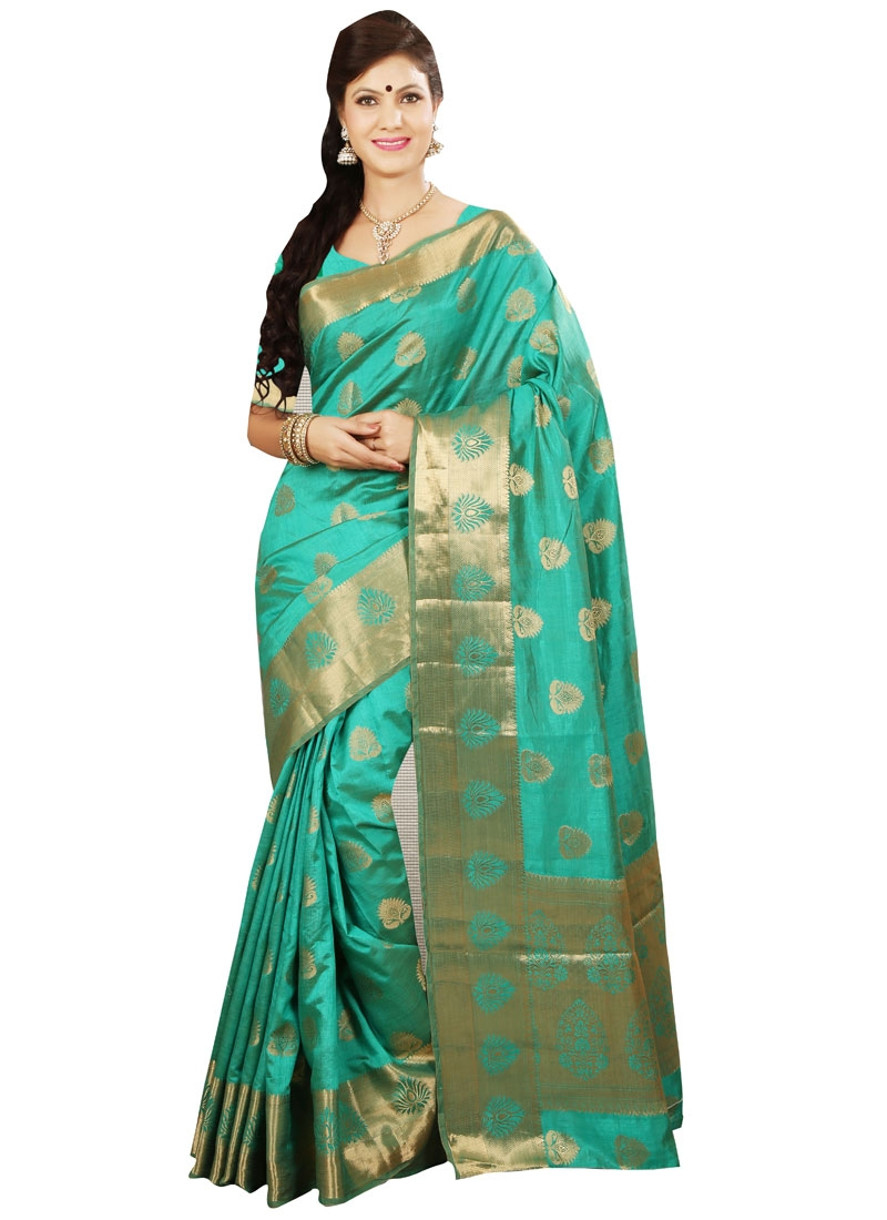 Compelling Aqua Blue Color Resham Work Party Wear Saree